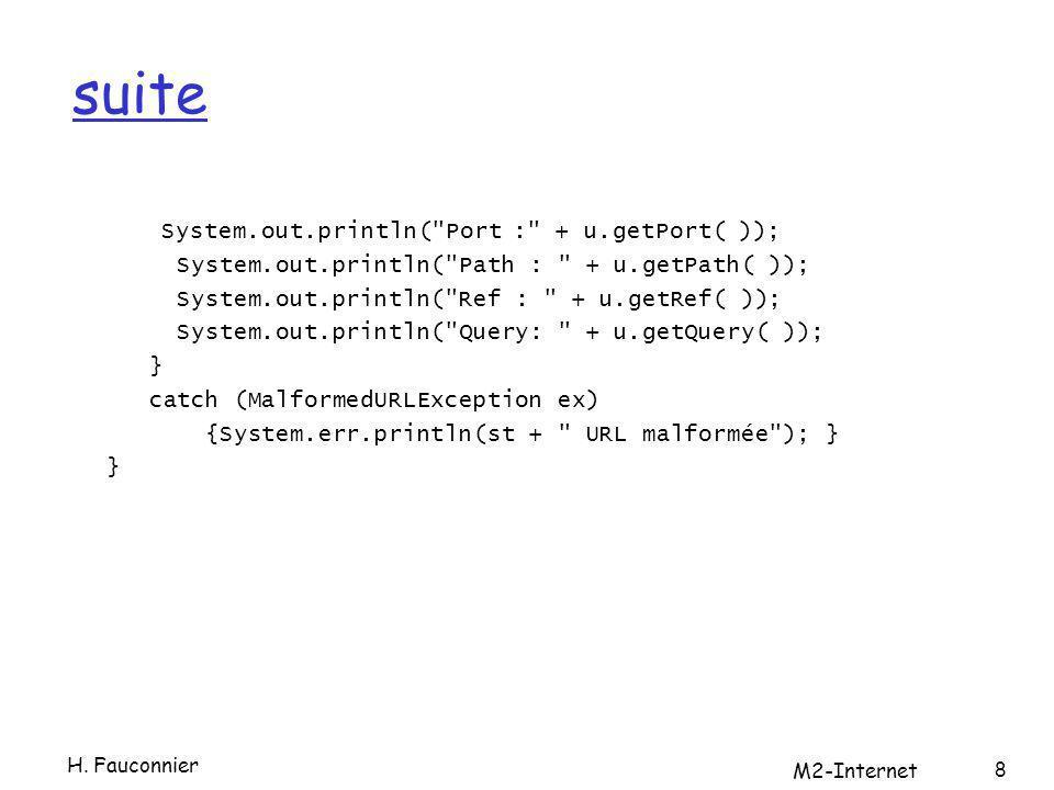 Et ensuite public class SourceViewer {SourceViewer public static void main (String[] args) { URL.setURLStreamHandlerFactory(new MaFactory( )); try { URL u = new URL(args[0]); InputStream in = new BufferedInputStream(u.openStream( )); Reader r = new InputStreamReader(in); int c; while ((c = r.read( )) != -1) {System.out.print((char) c); } } catch (MalformedURLException ex) {System.err.println(args[0]+ mauvaise URL ); } catch (IOException ex) { System.err.println(ex); } } } H.