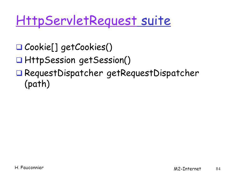 HttpServletRequestHttpServletRequest suite Cookie[] getCookies() HttpSession getSession() RequestDispatcher getRequestDispatcher (path) H. Fauconnier