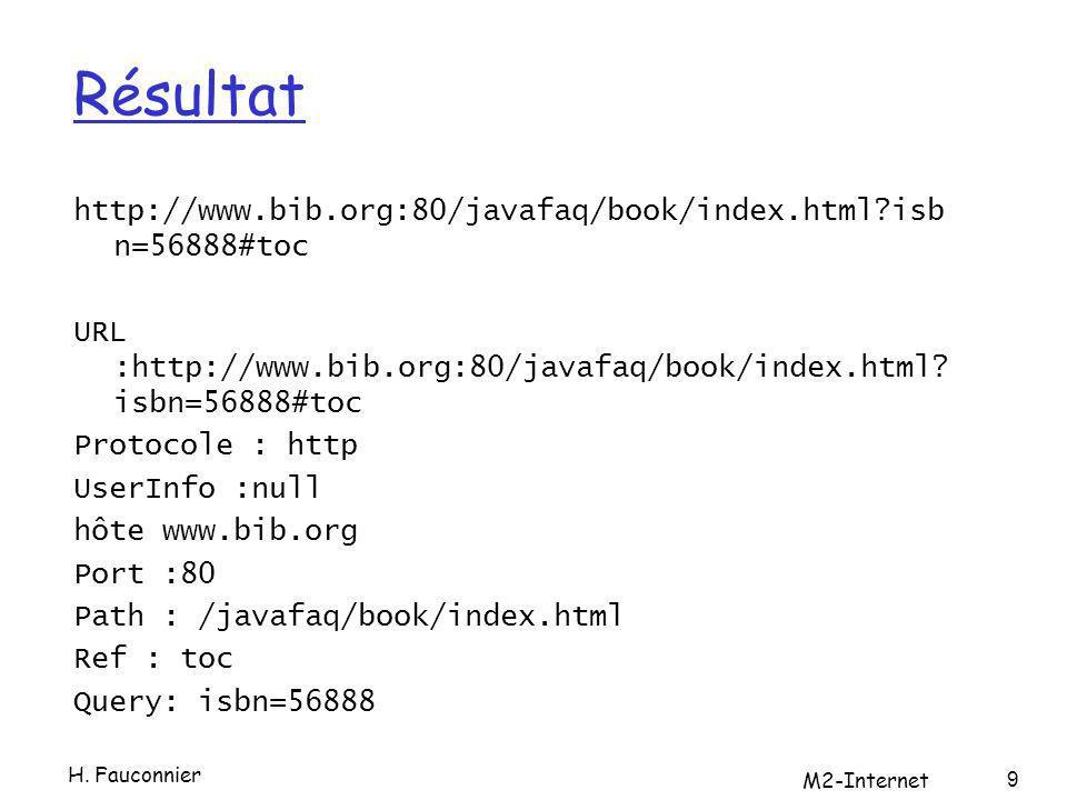 Résultat http://www.bib.org:80/javafaq/book/index.html?isb n=56888#toc URL :http://www.bib.org:80/javafaq/book/index.html? isbn=56888#toc Protocole :