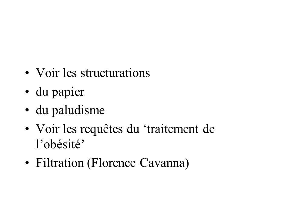 Voir les structurations du papier du paludisme Voir les requêtes du traitement de lobésité Filtration (Florence Cavanna)