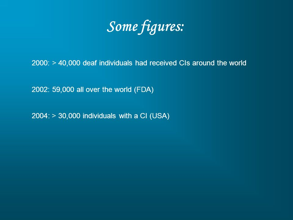 Some figures: 2000: > 40,000 deaf individuals had received CIs around the world 2002: 59,000 all over the world (FDA) 2004: > 30,000 individuals with a CI (USA)