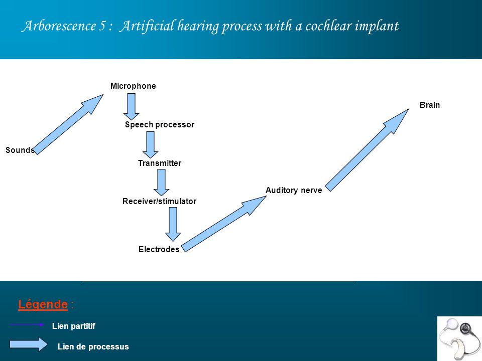 Arborescence 5 : Artificial hearing process with a cochlear implant Légende : Brain Auditory nerve Sounds Lien partitif Microphone Speech processor Transmitter Receiver/stimulator Electrodes Lien de processus