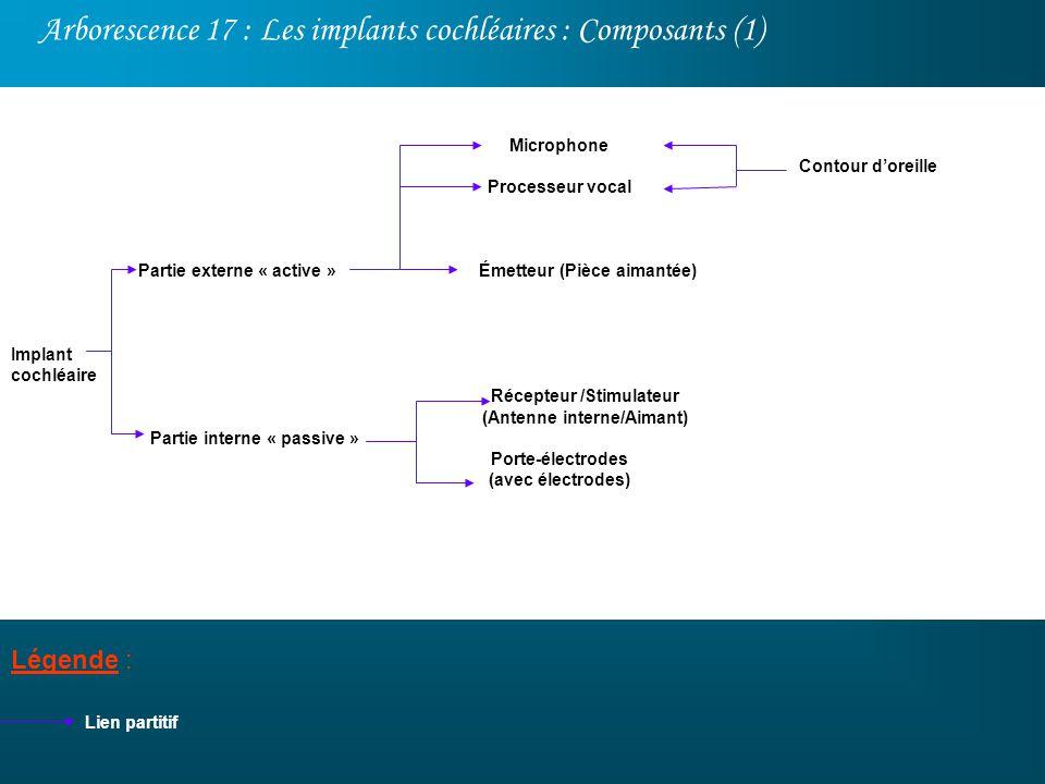 Arborescence 17 : Les implants cochléaires : Composants (1) Légende : Implant cochléaire Lien partitif Partie externe « active » Partie interne « pass