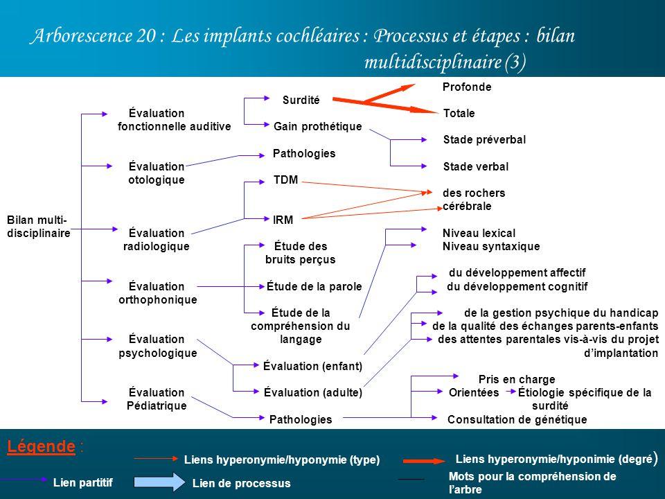 Arborescence 20 : Les implants cochléaires : Processus et étapes : bilan multidisciplinaire (3) Légende : Lien partitif Profonde Totale Stade préverba