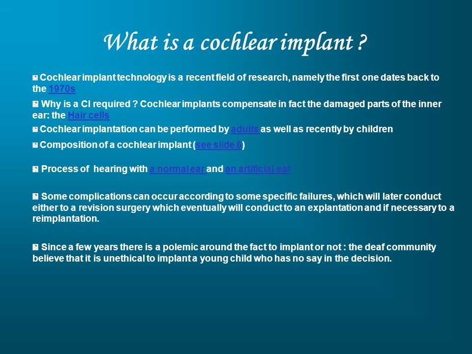 Arborescence 12 : Types of cochlear implant failures (continued) Légende : Programming option « soft failures » To remove electrodes Poor performance Surgeon error Meningitis Cochlear abnormalities Lien partitif Faster rate Varying pulse width Bipolar to monopolar stimulation Anatomic issues Physiologic issues Device-related issues Lack of auditory percept Electrical shorting Aberrant auditory percept Stimulation of the facial nerve Migration of the electrode outside the cochlea Lack of loudness growth Bilateral labyrinthitis ossificans Cochlear malformation Cochlear ossification Reduced facial nerve stimulation Lien hyperonymie/hyponymie (type)Lien cause/conséquence