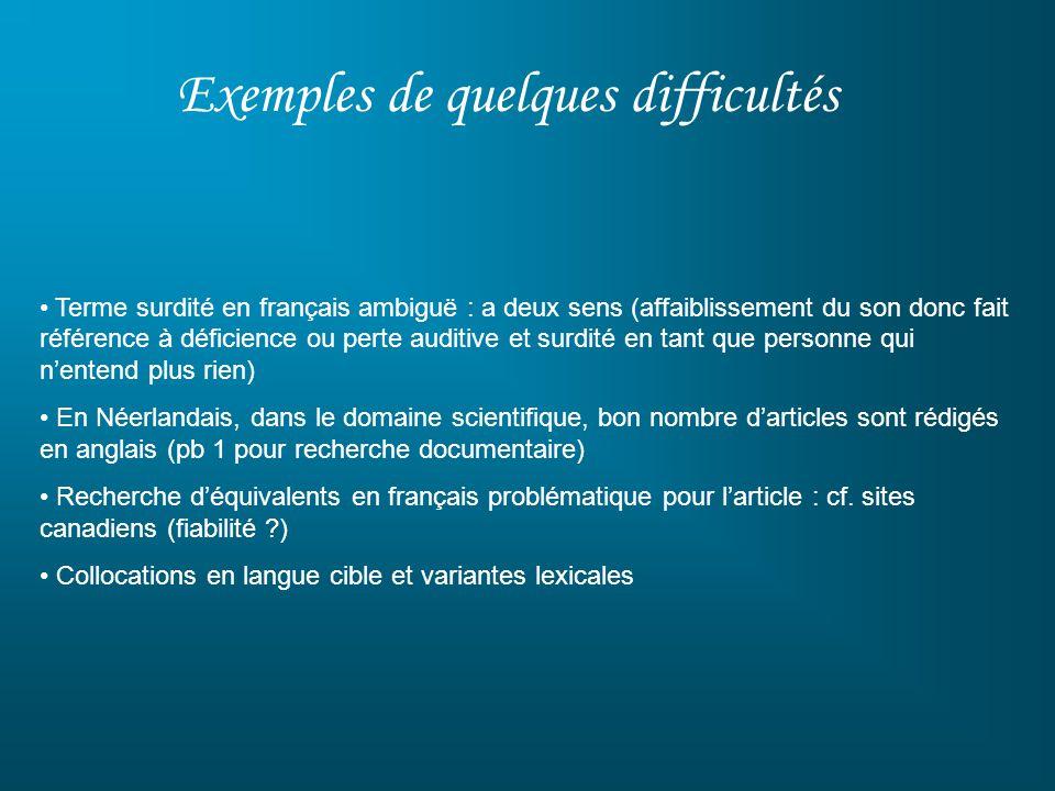Exemples de quelques difficultés Terme surdité en français ambiguë : a deux sens (affaiblissement du son donc fait référence à déficience ou perte aud