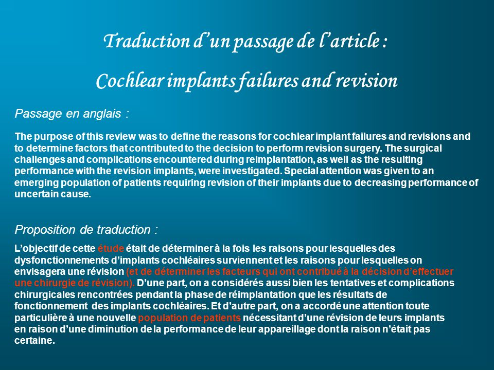 Traduction dun passage de larticle : Cochlear implants failures and revision Passage en anglais : The purpose of this review was to define the reasons