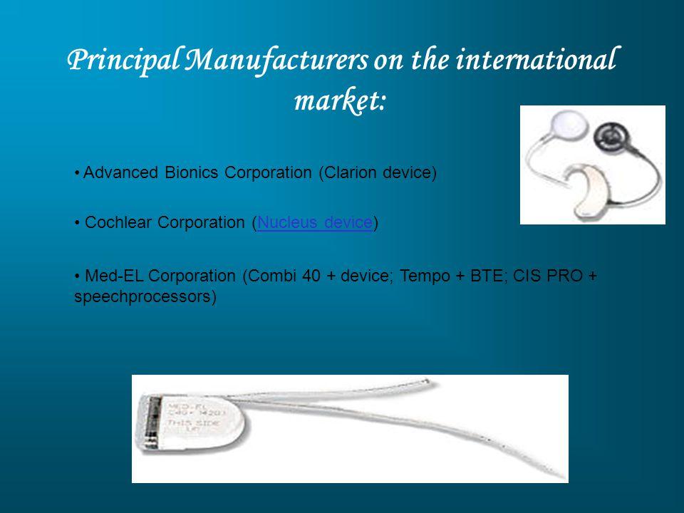 Principal Manufacturers on the international market: Advanced Bionics Corporation (Clarion device) Cochlear Corporation (Nucleus device)Nucleus device