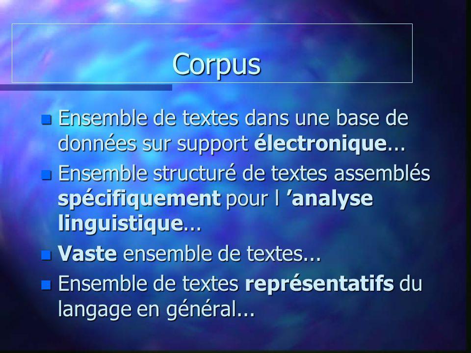 Corpus Corpus n Ensemble de textes dans une base de données sur support électronique... n Ensemble structuré de textes assemblés spécifiquement pour l