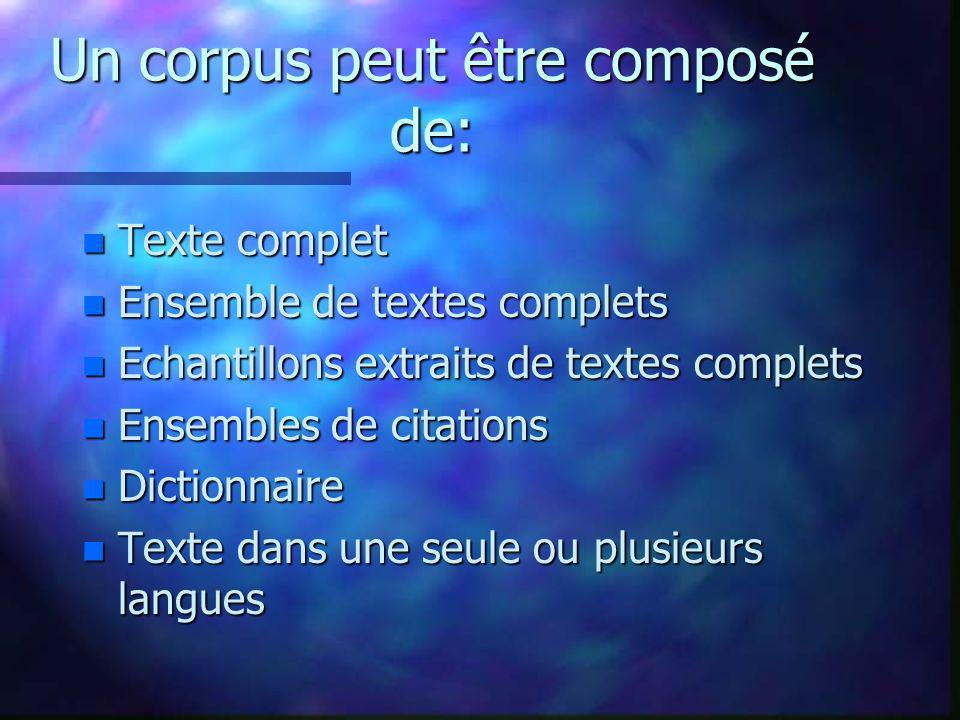 Un corpus peut être composé de: n Texte complet n Ensemble de textes complets n Echantillons extraits de textes complets n Ensembles de citations n Di