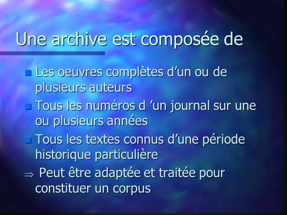 Une archive est composée de n Les oeuvres complètes dun ou de plusieurs auteurs n Tous les numéros d un journal sur une ou plusieurs années n Tous les