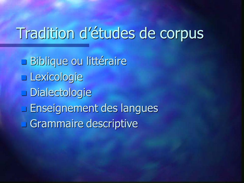 Tradition détudes de corpus n Biblique ou littéraire n Lexicologie n Dialectologie n Enseignement des langues n Grammaire descriptive