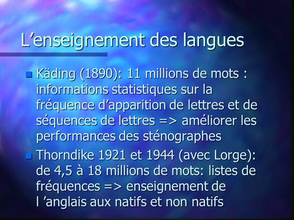 Lenseignement des langues n Käding (1890): 11 millions de mots : informations statistiques sur la fréquence dapparition de lettres et de séquences de