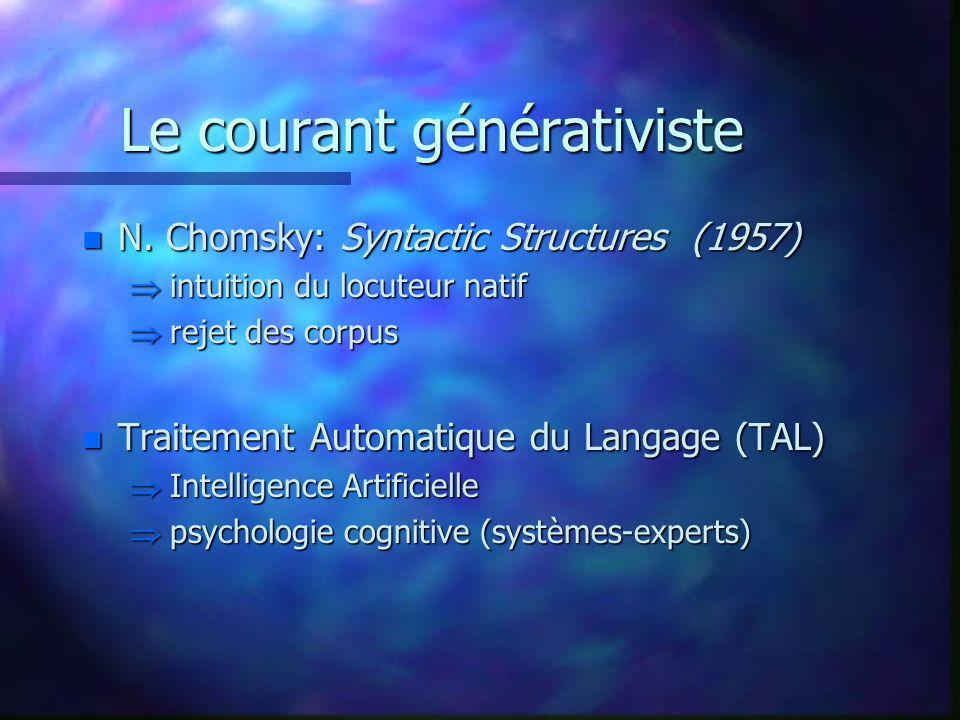 Le courant générativiste n N. Chomsky: Syntactic Structures (1957) intuition du locuteur natif intuition du locuteur natif rejet des corpus rejet des