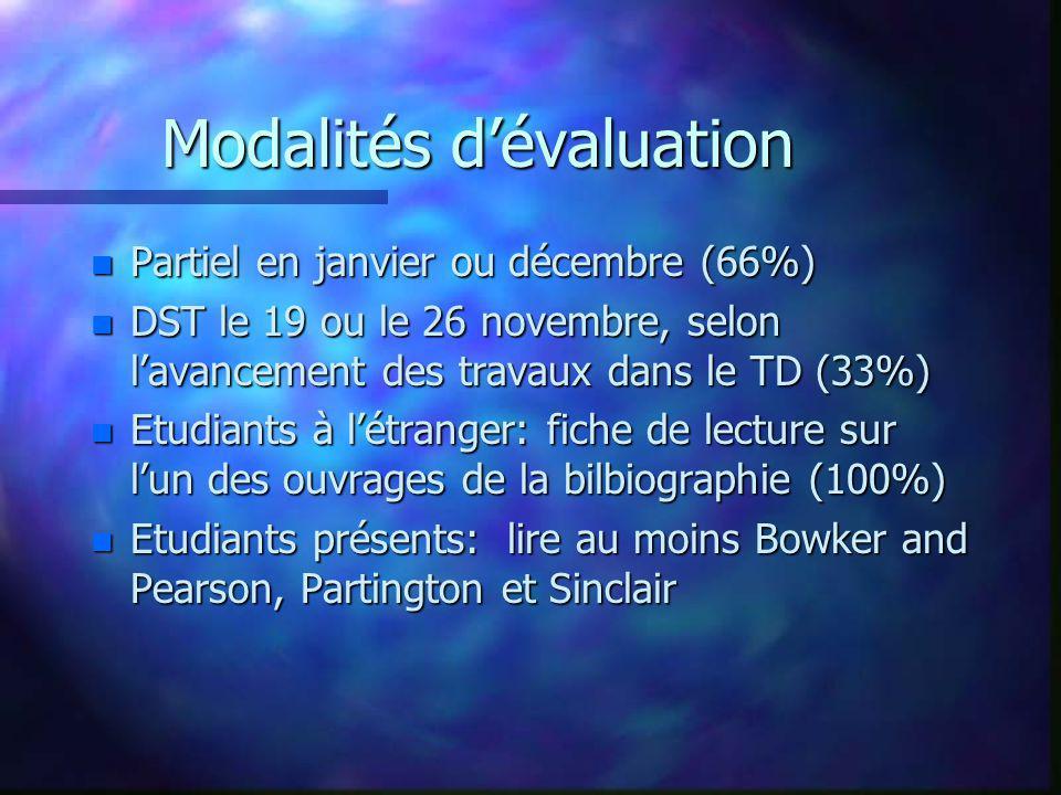Modalités dévaluation n Partiel en janvier ou décembre (66%) n DST le 19 ou le 26 novembre, selon lavancement des travaux dans le TD (33%) n Etudiants