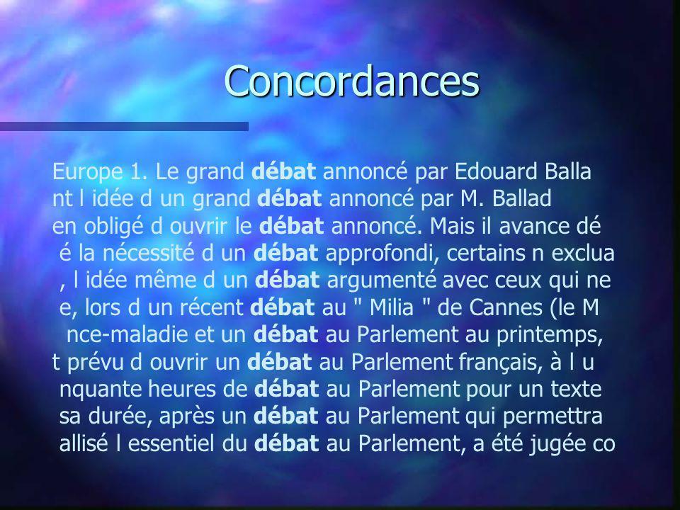 Concordances Europe 1. Le grand débat annoncé par Edouard Balla nt l idée d un grand débat annoncé par M. Ballad en obligé d ouvrir le débat annoncé.