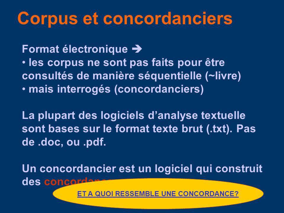 Les corpus sont des collections de textes de taille importante (BNC=100 Million words !) constituées de textes authentiques rassemblées selon des critères spécifiques collectées sous format électronique.