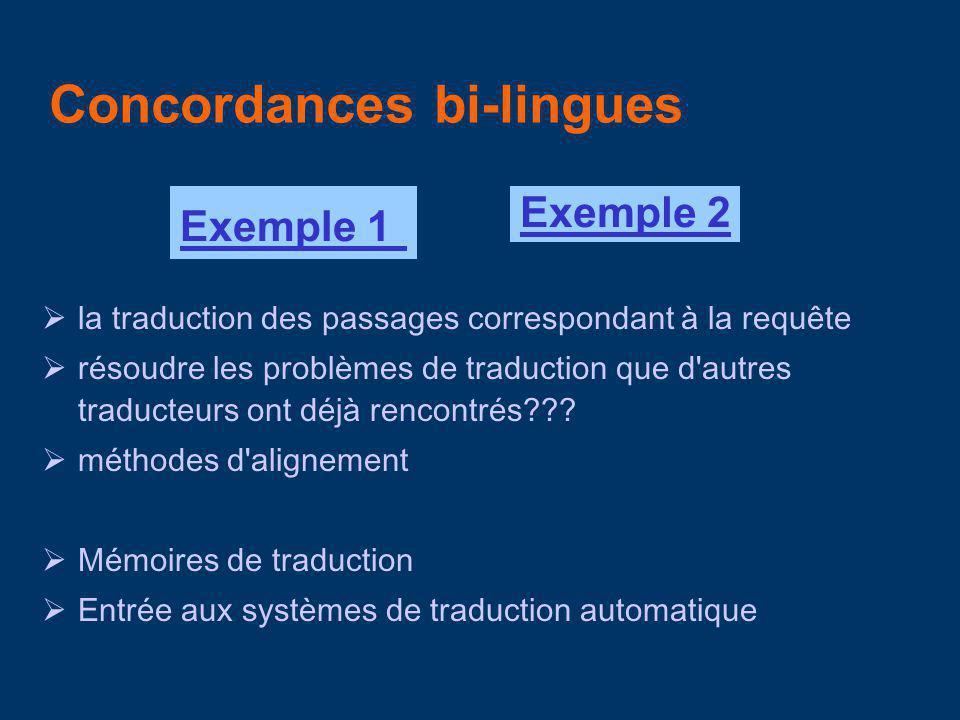 Concordances monolingues Exemple 1Exemple 2 comparer les divers emplois|sens d un même terme observer la fréquence des mots identifier des collocation, définitions observer des propriétés distributionnelles de certains mots.
