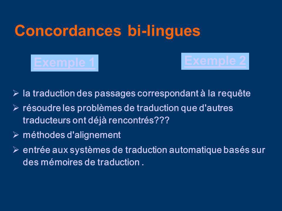 Concordances bi-lingues la traduction des passages correspondant à la requête résoudre les problèmes de traduction que d autres traducteurs ont déjà rencontrés??.