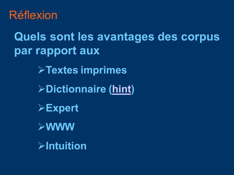 Réflexion Quels sont les avantages des corpus par rapport aux Textes imprimes Dictionnaire (hint)hint Expert WWW Intuition