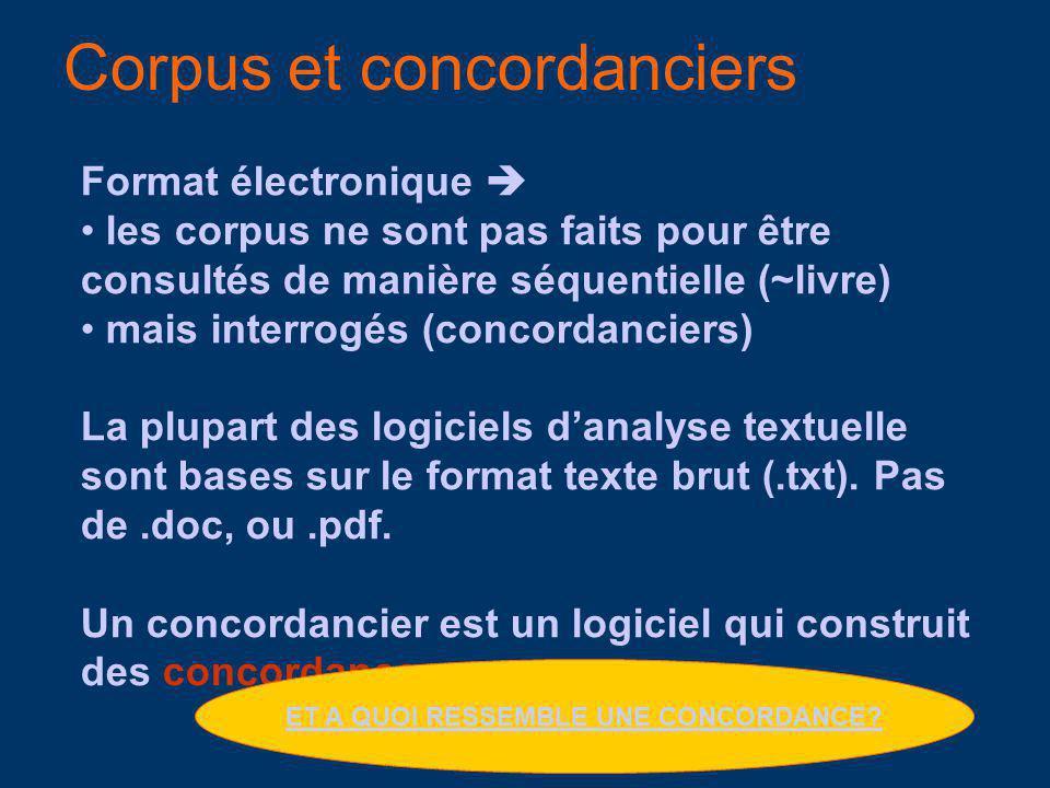 Corpus et concordanciers Format électronique les corpus ne sont pas faits pour être consultés de manière séquentielle (~livre) mais interrogés (concordanciers) La plupart des logiciels danalyse textuelle sont bases sur le format texte brut (.txt).
