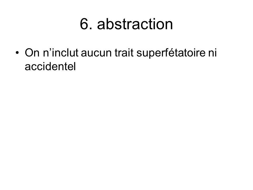 6. abstraction On ninclut aucun trait superfétatoire ni accidentel