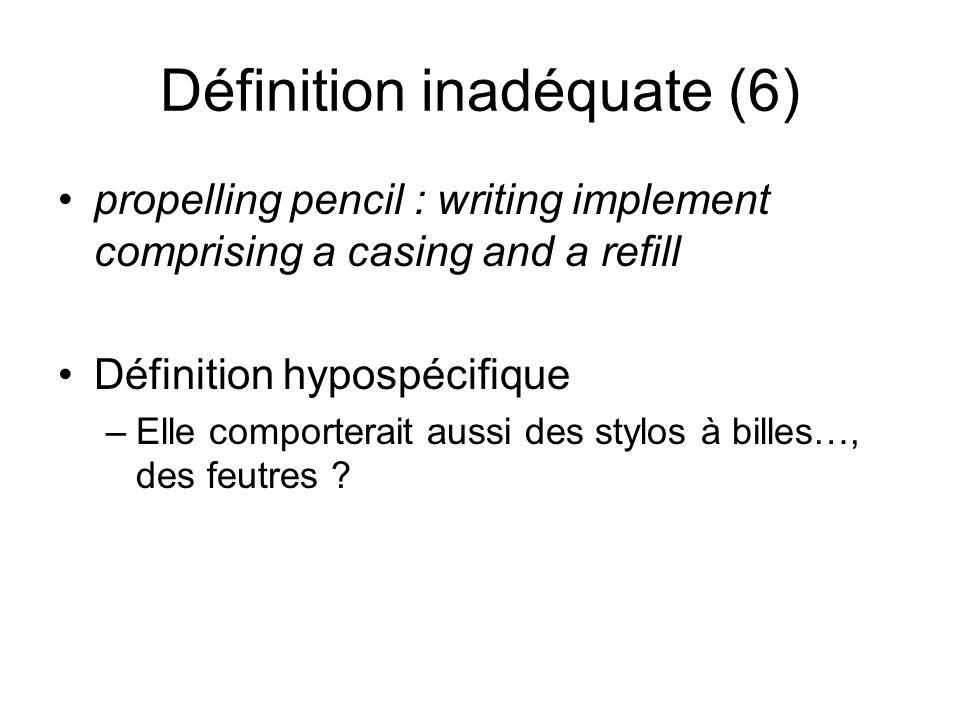 Définition inadéquate (6) propelling pencil : writing implement comprising a casing and a refill Définition hypospécifique –Elle comporterait aussi des stylos à billes…, des feutres