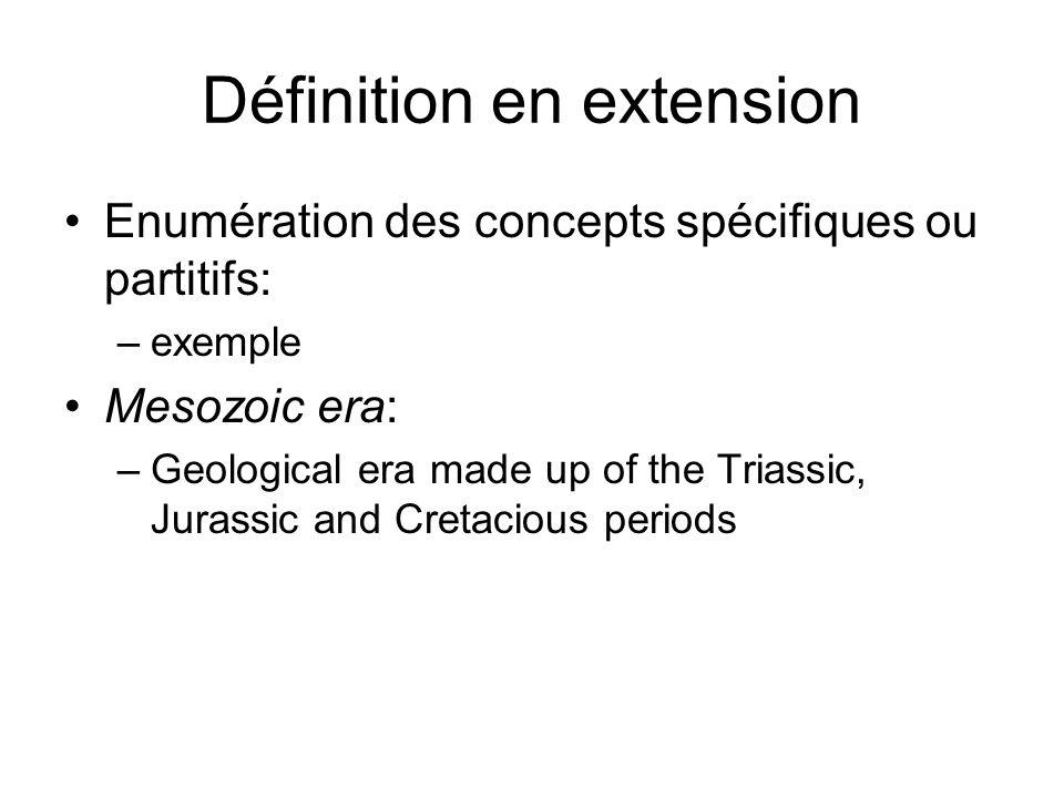Définition en extension Enumération des concepts spécifiques ou partitifs: –exemple Mesozoic era: –Geological era made up of the Triassic, Jurassic and Cretacious periods