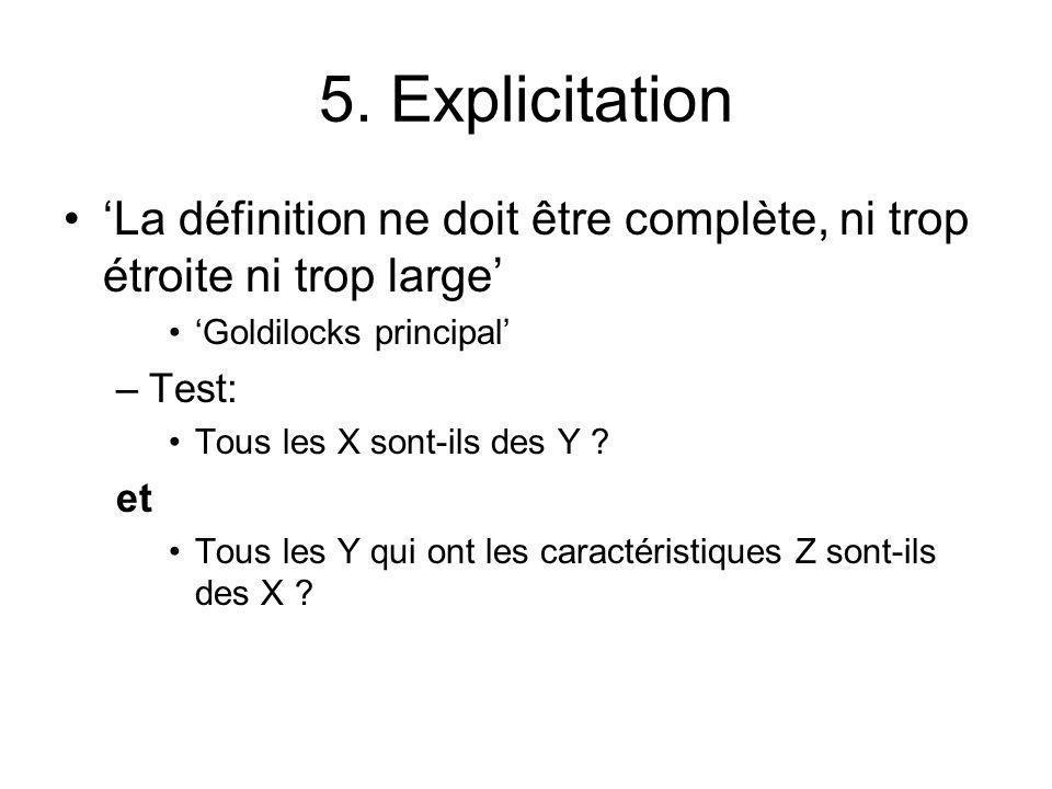 5. Explicitation La définition ne doit être complète, ni trop étroite ni trop large Goldilocks principal –Test: Tous les X sont-ils des Y ? et Tous le