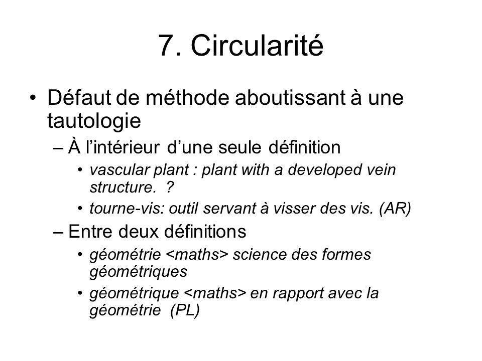 7. Circularité Défaut de méthode aboutissant à une tautologie –À lintérieur dune seule définition vascular plant : plant with a developed vein structu