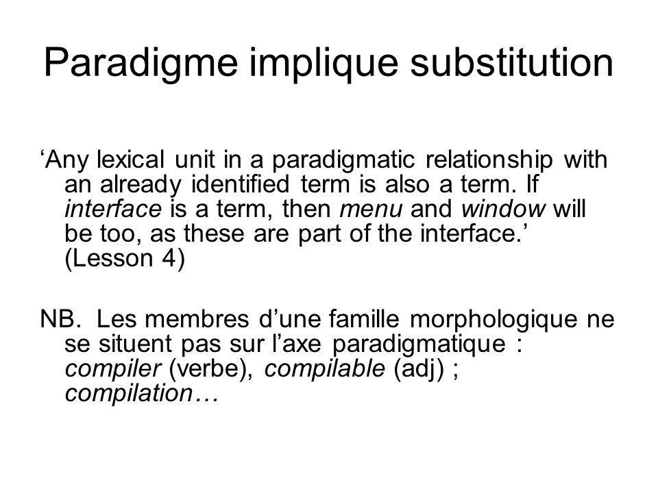Paradigme implique substitution Any lexical unit in a paradigmatic relationship with an already identified term is also a term. If interface is a term
