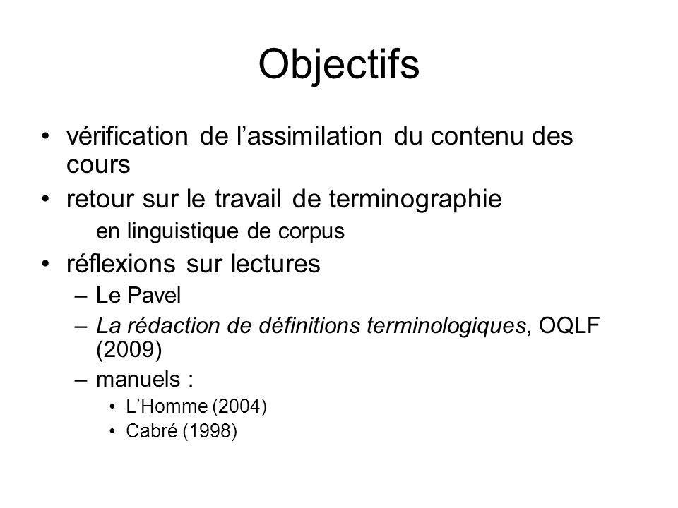 Objectifs vérification de lassimilation du contenu des cours retour sur le travail de terminographie en linguistique de corpus réflexions sur lectures
