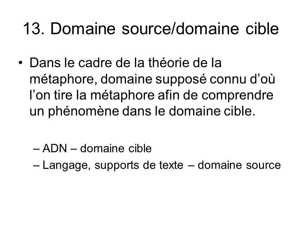 13. Domaine source/domaine cible Dans le cadre de la théorie de la métaphore, domaine supposé connu doù lon tire la métaphore afin de comprendre un ph