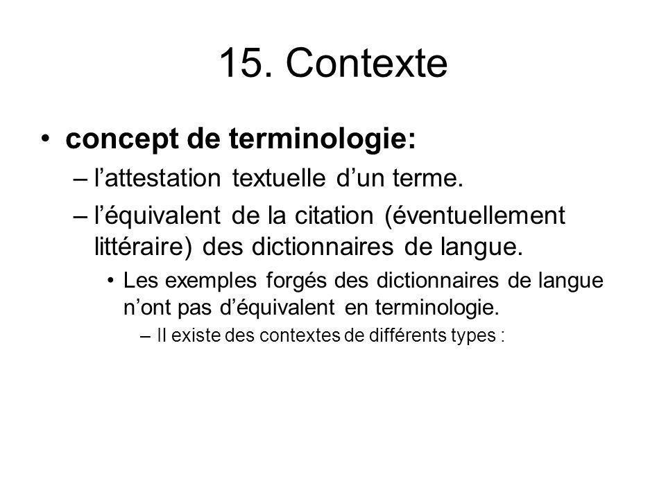 15. Contexte concept de terminologie: –lattestation textuelle dun terme. –léquivalent de la citation (éventuellement littéraire) des dictionnaires de