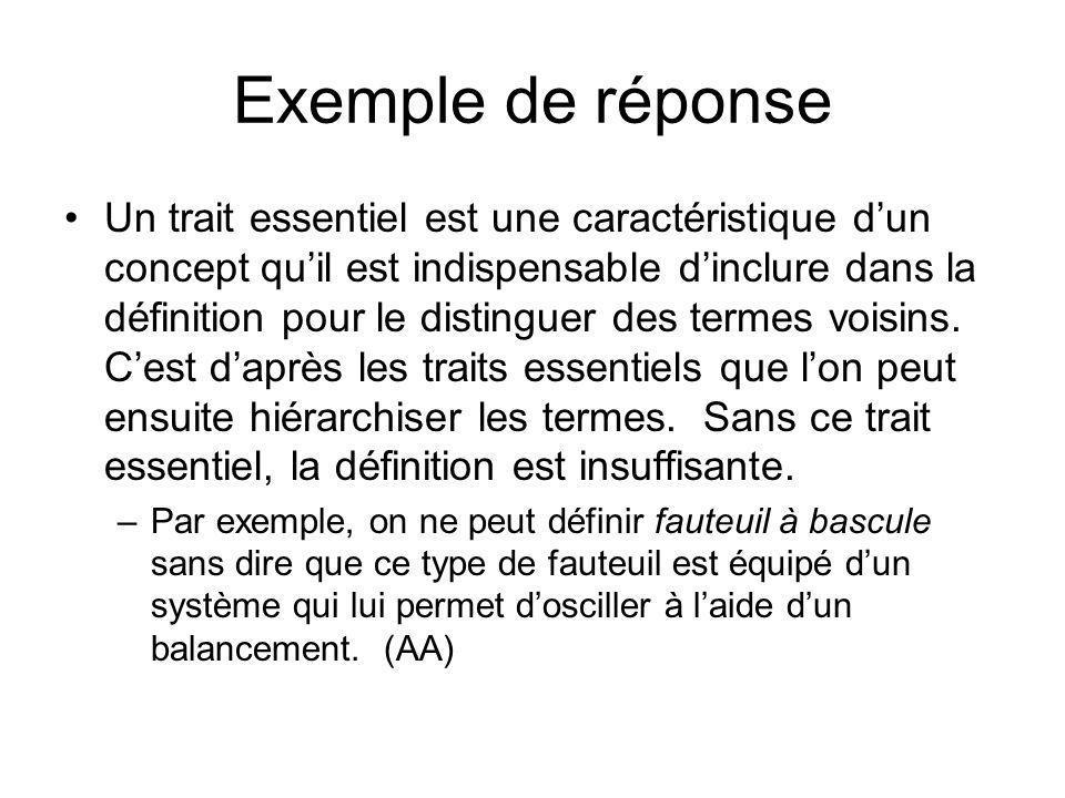 Exemple de réponse Un trait essentiel est une caractéristique dun concept quil est indispensable dinclure dans la définition pour le distinguer des te