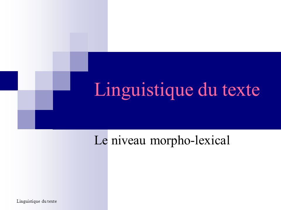 Linguistique du texte Le niveau morpho-lexical Linguistique du texte