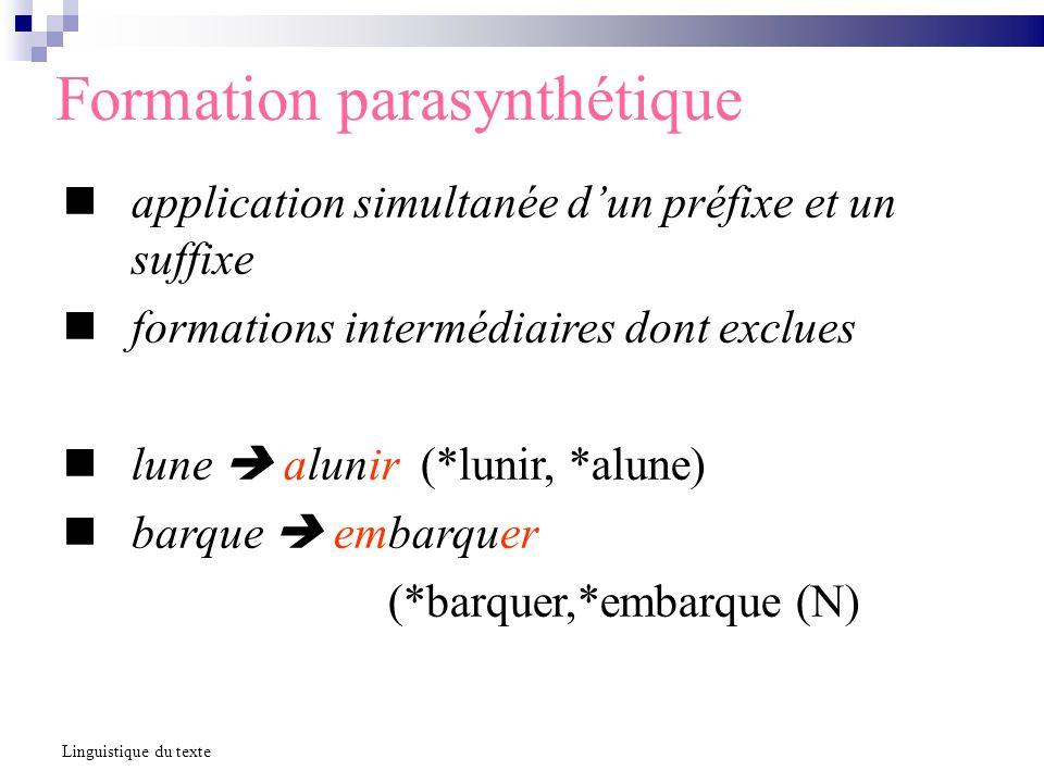 Formation parasynthétique application simultanée dun préfixe et un suffixe formations intermédiaires dont exclues lune alunir (*lunir, *alune) barque embarquer (*barquer,*embarque (N) Linguistique du texte