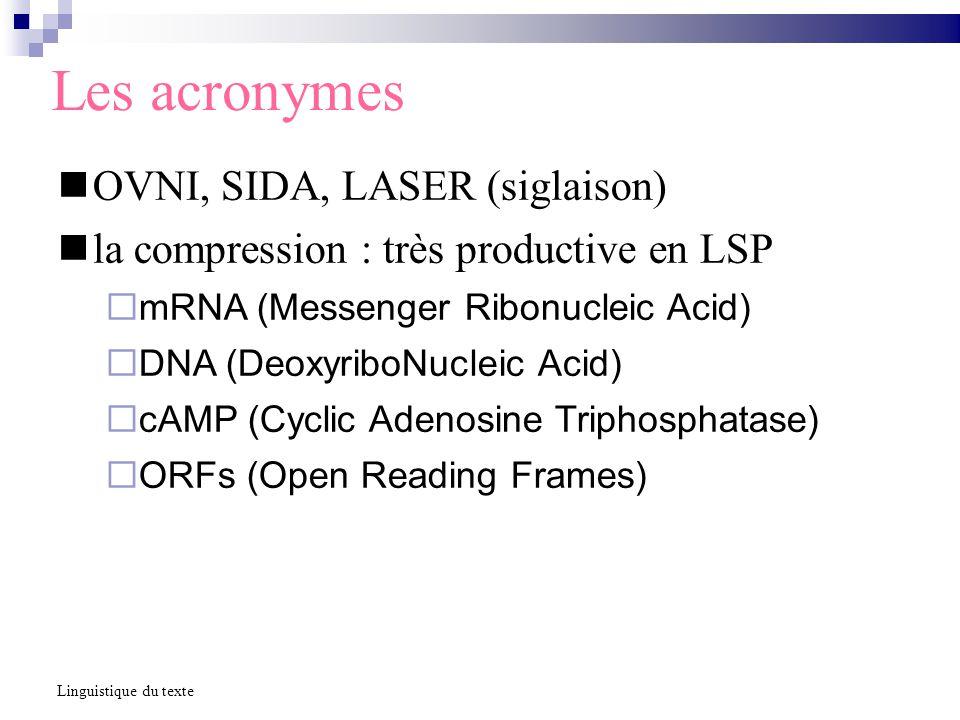 Les acronymes OVNI, SIDA, LASER (siglaison) la compression : très productive en LSP mRNA (Messenger Ribonucleic Acid) DNA (DeoxyriboNucleic Acid) cAMP (Cyclic Adenosine Triphosphatase) ORFs (Open Reading Frames) Linguistique du texte