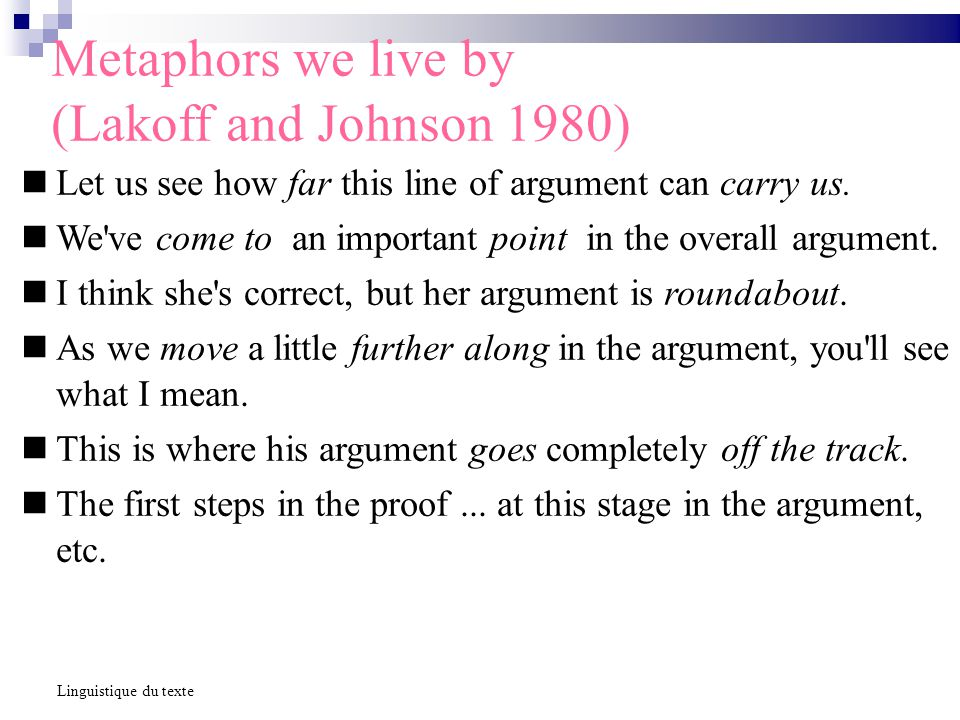 Metaphors we live by (Lakoff and Johnson 1980) Let us see how far this line of argument can carry us. We've come to an important point in the overall