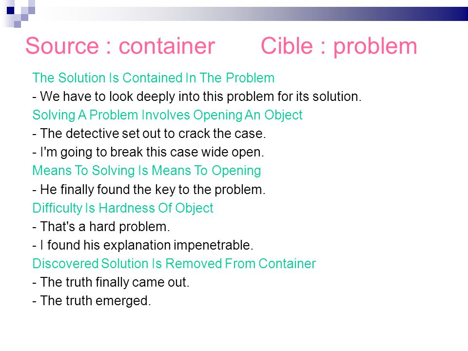 Source : container Cible : problem Alexandra Volanschi et Mojca Pecman Linguistique du texte The Solution Is Contained In The Problem - We have to look deeply into this problem for its solution.