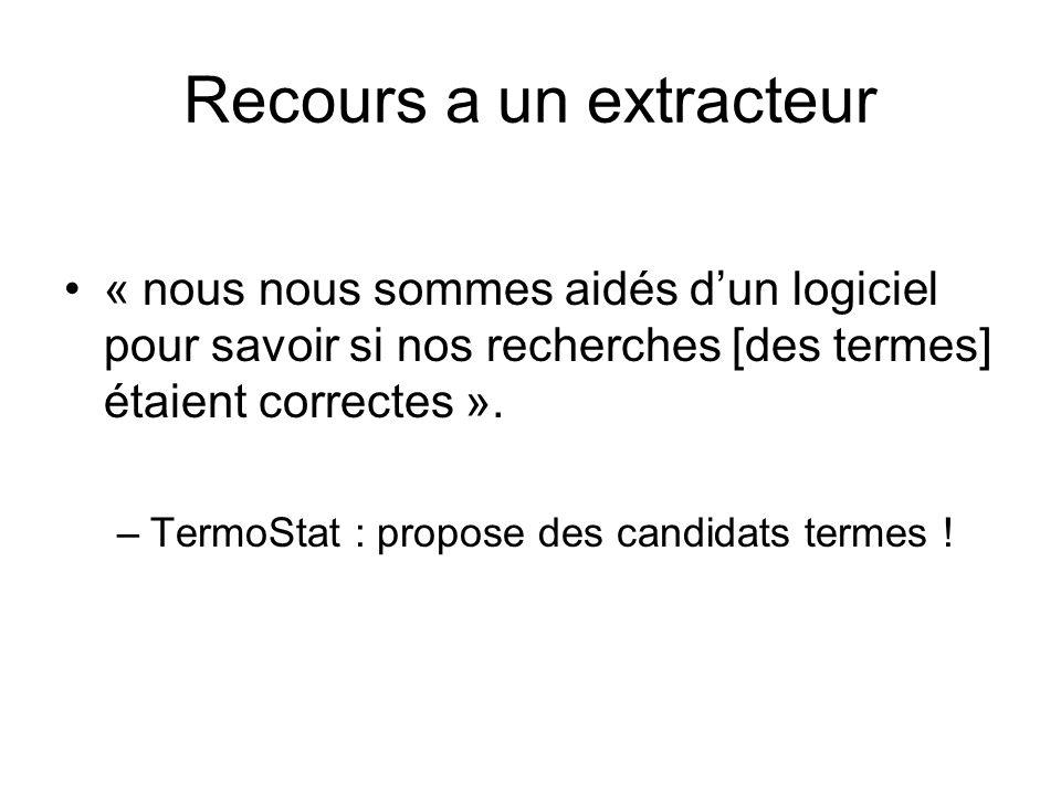 Recours a un extracteur « nous nous sommes aidés dun logiciel pour savoir si nos recherches [des termes] étaient correctes ». –TermoStat : propose des