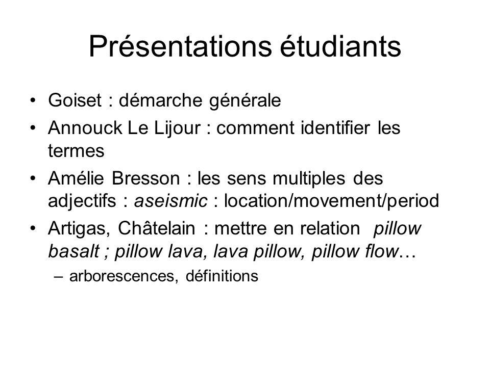 Présentations étudiants Goiset : démarche générale Annouck Le Lijour : comment identifier les termes Amélie Bresson : les sens multiples des adjectifs