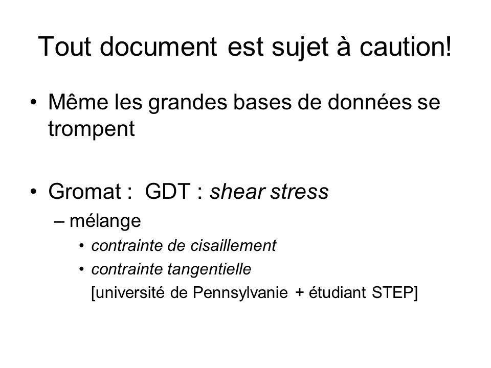 Tout document est sujet à caution! Même les grandes bases de données se trompent Gromat : GDT : shear stress –mélange contrainte de cisaillement contr