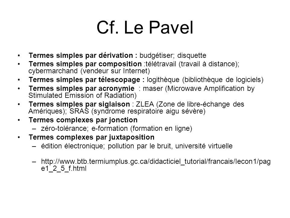 Cf. Le Pavel Termes simples par dérivation : budgétiser; disquette Termes simples par composition :télétravail (travail à distance); cybermarchand (ve