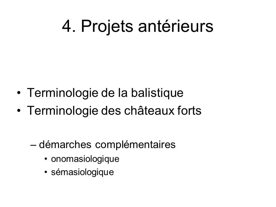 4. Projets antérieurs Terminologie de la balistique Terminologie des châteaux forts –démarches complémentaires onomasiologique sémasiologique