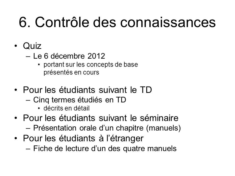6. Contrôle des connaissances Quiz –Le 6 décembre 2012 portant sur les concepts de base présentés en cours Pour les étudiants suivant le TD –Cinq term