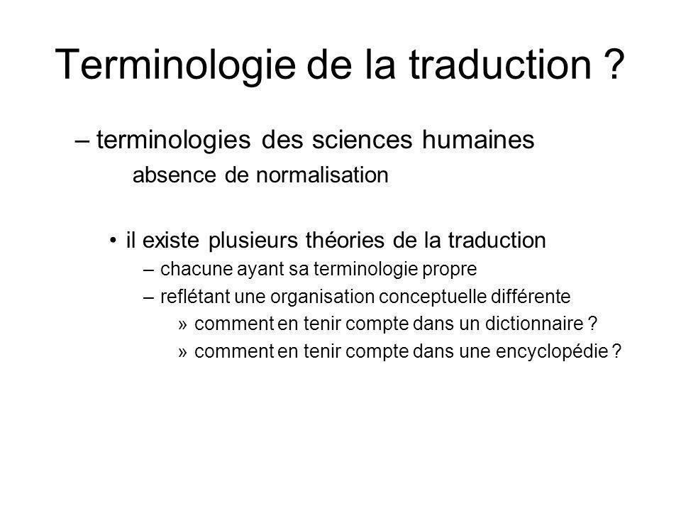 Terminologie de la traduction ? –terminologies des sciences humaines absence de normalisation il existe plusieurs théories de la traduction –chacune a
