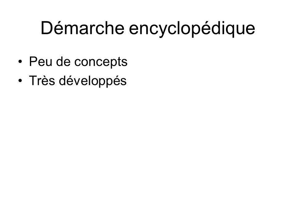 Démarche encyclopédique Peu de concepts Très développés