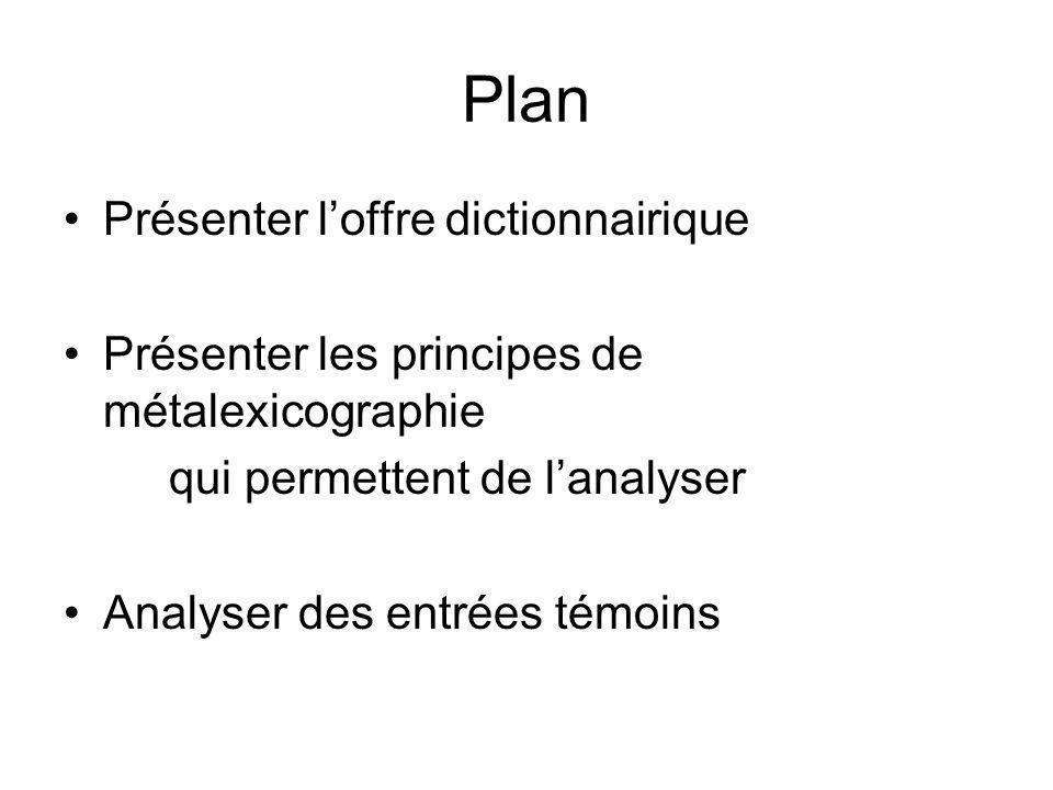 Plan Présenter loffre dictionnairique Présenter les principes de métalexicographie qui permettent de lanalyser Analyser des entrées témoins