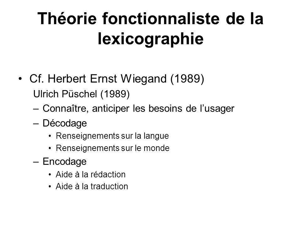 Théorie fonctionnaliste de la lexicographie Cf. Herbert Ernst Wiegand (1989) Ulrich Püschel (1989) –Connaître, anticiper les besoins de lusager –Décod